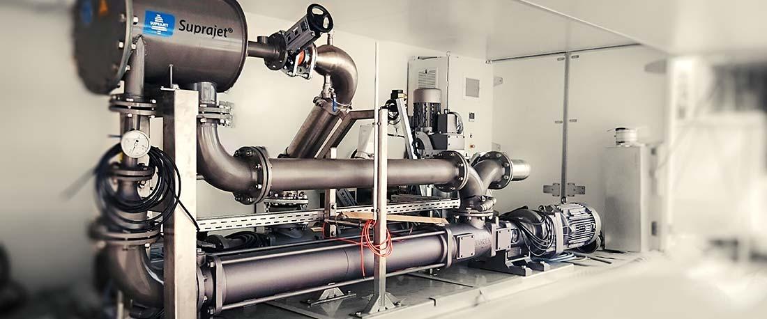 Die mobile Suprajet Einheit kann gemietet werden und so direkt vor Ort an der Biogasanlage getestet werden.